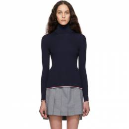 Thom Browne Navy Rib Stitch Tipping Stripe Turtleneck FKA235A-00014