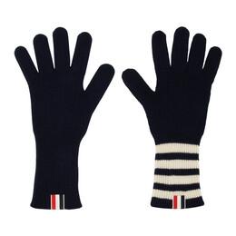 Thom Browne Navy 4-Bar Rib Gloves MKG003A-00011