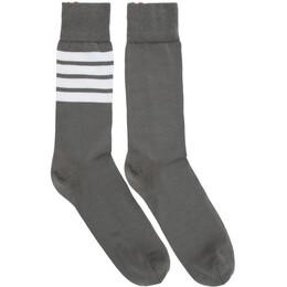 Thom Browne Grey Mid-Calf 4-Bar Socks MAS023B-01690