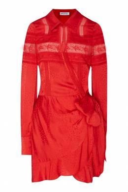 Красное платье мини с кружевной тесьмой Self-Portrait 532132725