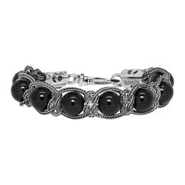 Emanuele Bicocchi Silver and Black Beaded Bracelet SHBR