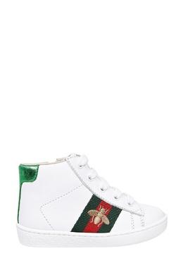 Высокие белые кеды с отделкой Gucci 470134333