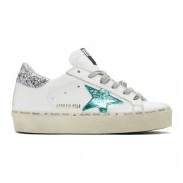 Golden Goose White and Green Hi Star Sneakers G35WS945.G5
