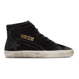 Golden Goose Black Suede Slide Sneakers G35WS595.V6