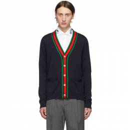 Gucci Navy Wool Web Stripe Cardigan 576806 XKAUL