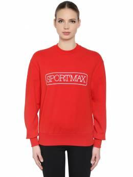 Полухлопковый Свитшот С Принтом Логотипа Sportmax 68ICD6001-MDAy0