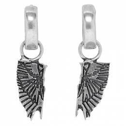 Marcelo Burlon County Of Milan Silver Wings Pendant Hoop Earrings 192539M14400501GB