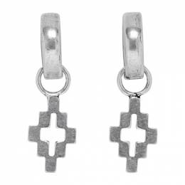 Marcelo Burlon County Of Milan Silver Cross Pendant Hoop Earrings 192539M14400101GB