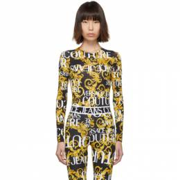 Versace Jeans Couture Black and Yellow Baroque Logo Bodysuit ED4HUA658 ES0537