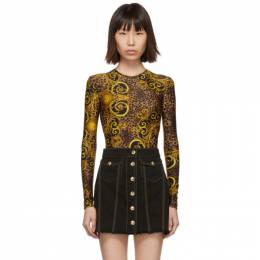 Versace Jeans Couture Brown and Yellow Leopard Baroque Bodysuit ED4HUA658 ES0593