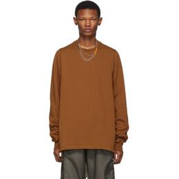 Rick Owens Tan Crewneck Long Sleeve T-Shirt RU19F4277 BA