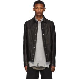 Rick Owens Black Leather Worker Jacket RU19F4770 LCW