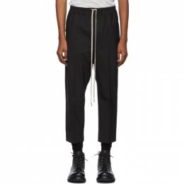 Rick Owens Black Drawstring Astaires Cropped Trousers RU19F4395 ZL