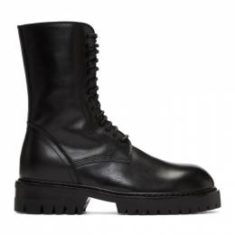 Ann Demeulemeester Black Buckle Lace-Up Boots 2013-2826-355-099
