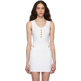 Balmain White Knit Buttoned Bodysuit SF10930K462