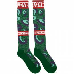 Charles Jeffrey Loverboy Green and Blue Loverboy Monster Socks CJLAW19LMS