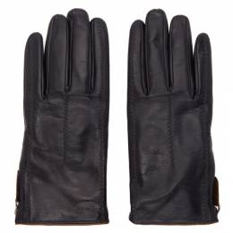 Giorgio Armani Black Leather Gloves 744173 9A2030036