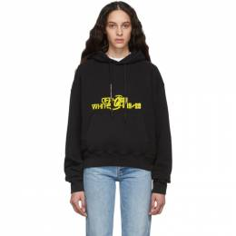 Off-White Black and Yellow Halftone Over Hoodie OMBB037E19E300081060