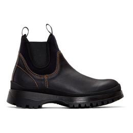 Prada Black Leather and Neoprene Chelsea Boots 2TE147 3V75