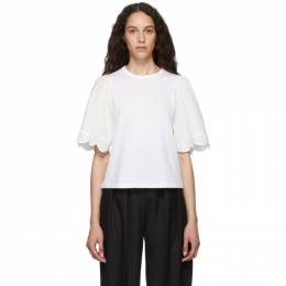 See By Chloe White Embellished T-Shirt CHS19AJH12081