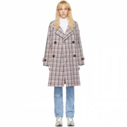 Opening Ceremony Pink Oversized Plaid Trench Coat P19AMH11156