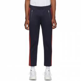 Moncler Navy and Red Jersey Lounge Pants E2091 87072 00 C8005