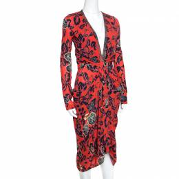 Etro Red Floral Print Embellished Plunge Neck Detail Draped Midi Dress S 155898
