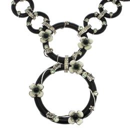 Prada Flower Power Black Plexiglas Crystal Floral Bedecked Link Necklace 155331