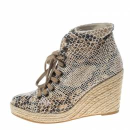 Stella McCartney Snake Print Canvas Espadrille Wedge Ankle Boots Size 37 157681