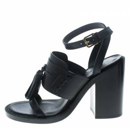Burberry Black Leather Bethany Tassel Detail Block Heel Sandals Size 40 208422