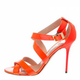 Jimmy Choo Fluorescent Orange Patent Leather Louise Cross Strap Sandals Size 39.5 154378