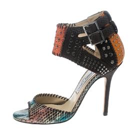 Jimmy Choo Multicolor Studded Snakeskin Ankle Strap Sandals Size 39.5 157175