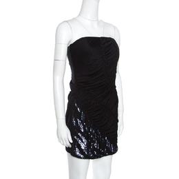 Emilio Pucci Black Sequin Embellished Ruched Strapless Dress M