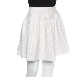 Alaia Beige Lurex Jacquard Patterned High Waist Mini Skirt M 156105