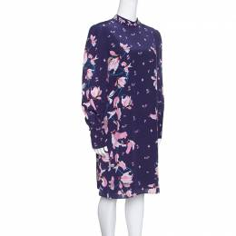 Erdem Navy Blue Kayo Lily Printed Silk Mirela Shift Dress M 154390