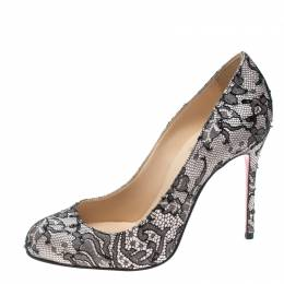 Christian Louboutin Two Tone Chantilly Lace and Satin Fifi Pumps Size 35.5