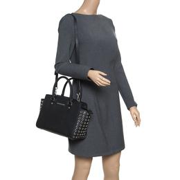 Michael Michael Kors Black Leather Medium Selma Eyelet Top Handle Bag 157463