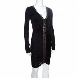 Emilio Pucci Black Ruched Jersey Rhinestone Embellished Long Sleeve Dress S 151556