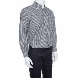 Ermenegildo Zegna Grey Striped Cotton Button Down Long Sleeve Shirt L 153156