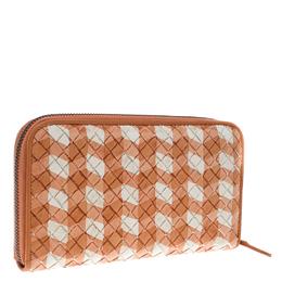 Bottega Veneta Orange/White Intrecciato Leather Zip Around Wallet 151638