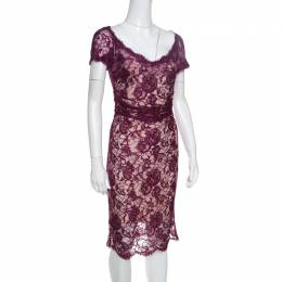 Emilio Pucci Burgundy Floral Lace Scalloped Trim Ruched Dress S