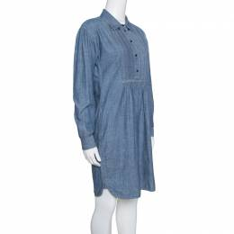 Burberry Brit Indigo Chambray Pintuck Detail Shirt Dress S 153131