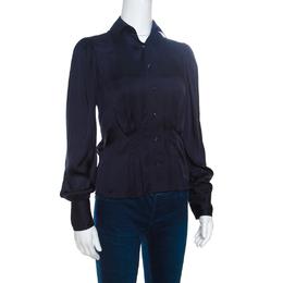 Ralph Lauren Navy Blue Silk Satin Pleat Detail Button Front Shirt S 151501