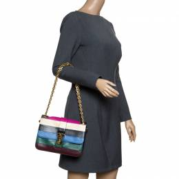 Valentino Multicolor Striped Leather B Rockstud Shoulder Bag 152981