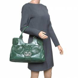 Valentino Green Leather Crystal Catch Shoulder Bag 152188