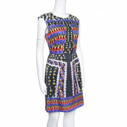 Peter Pilotto Fantasia Cheerleader Printed Silk Sleeveless Alexa Dress M 153878