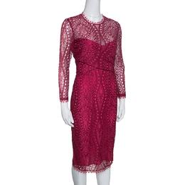 Emilio Pucci Burgundy Floral Lace Scalloped Trim Draped Dress M