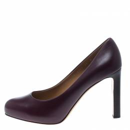 Salvatore Ferragamo Burgundy Leather Leo Pumps Size 40.5 152882