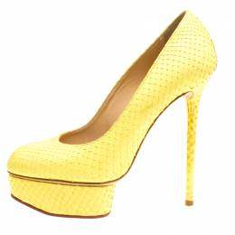 Charlotte Olympia Yellow Python Priscilla Platform Pumps Size 38 153475