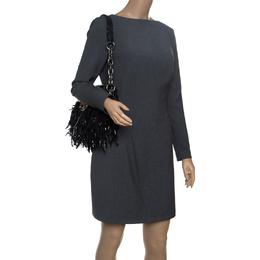 Prada Black Vitello Shine Leather Fringe Shoulder Bag 151033
